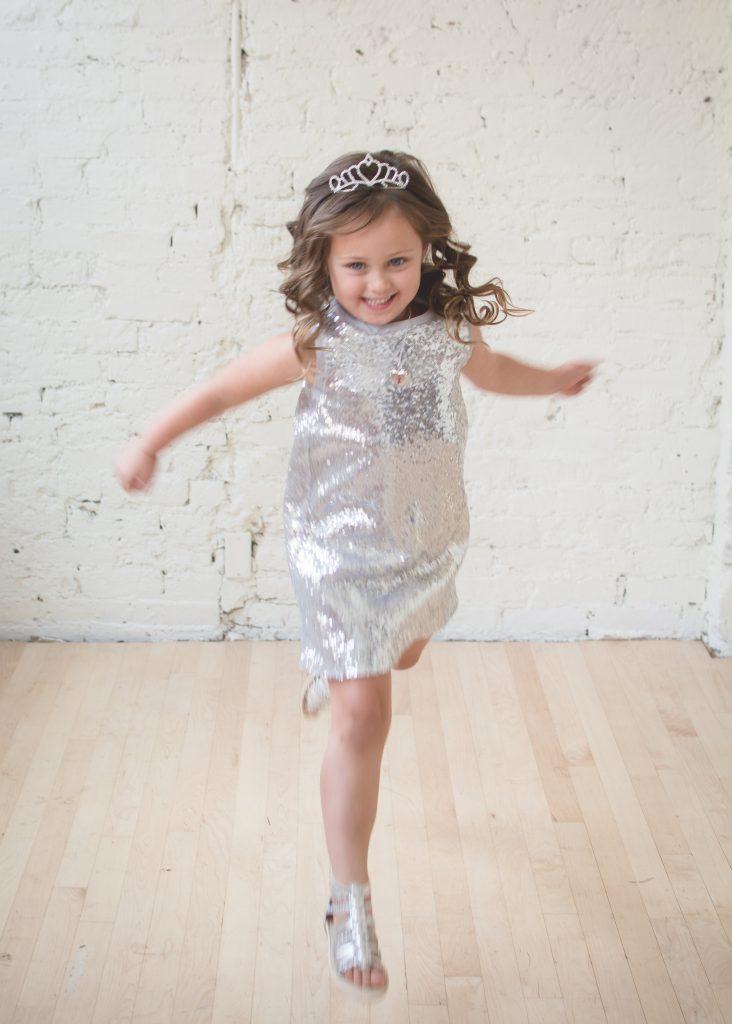 Trying the Sparkler dress.